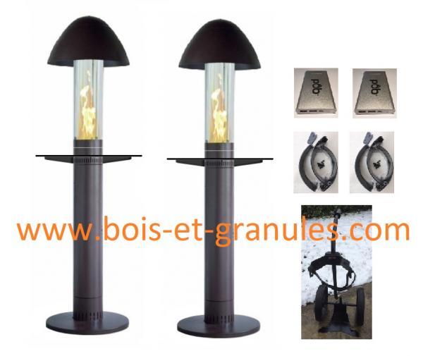 Pièces détachées Pob > Pack 2 parasols chauffant aux granules Pob + 1 trolley + 2 protections vents + 2 batteries supplémentaires