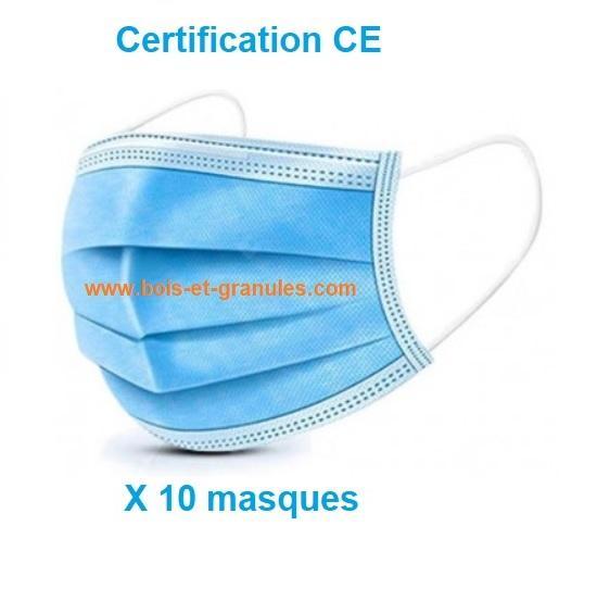 Masques Lot de 10 masques chirurgicaux jetables 3 couches de protection avec crochets élastiques